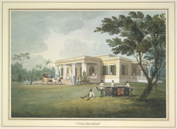 Single storied house with portico, Madras, sentries guarding the entrance.  A carriage drawn up at the steps and a palanquin in the shade of a nearby tree